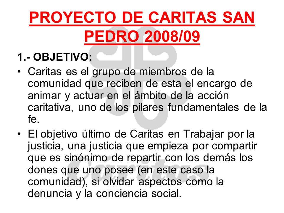 PROYECTO DE CARITAS SAN PEDRO 2008/09 1.- OBJETIVO: Caritas es el grupo de miembros de la comunidad que reciben de esta el encargo de animar y actuar