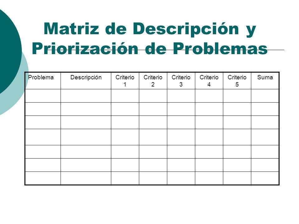 Matriz de Descripción y Priorización de Problemas ProblemaDescripciónCriterio 1 Criterio 2 Criterio 3 Criterio 4 Criterio 5 Suma