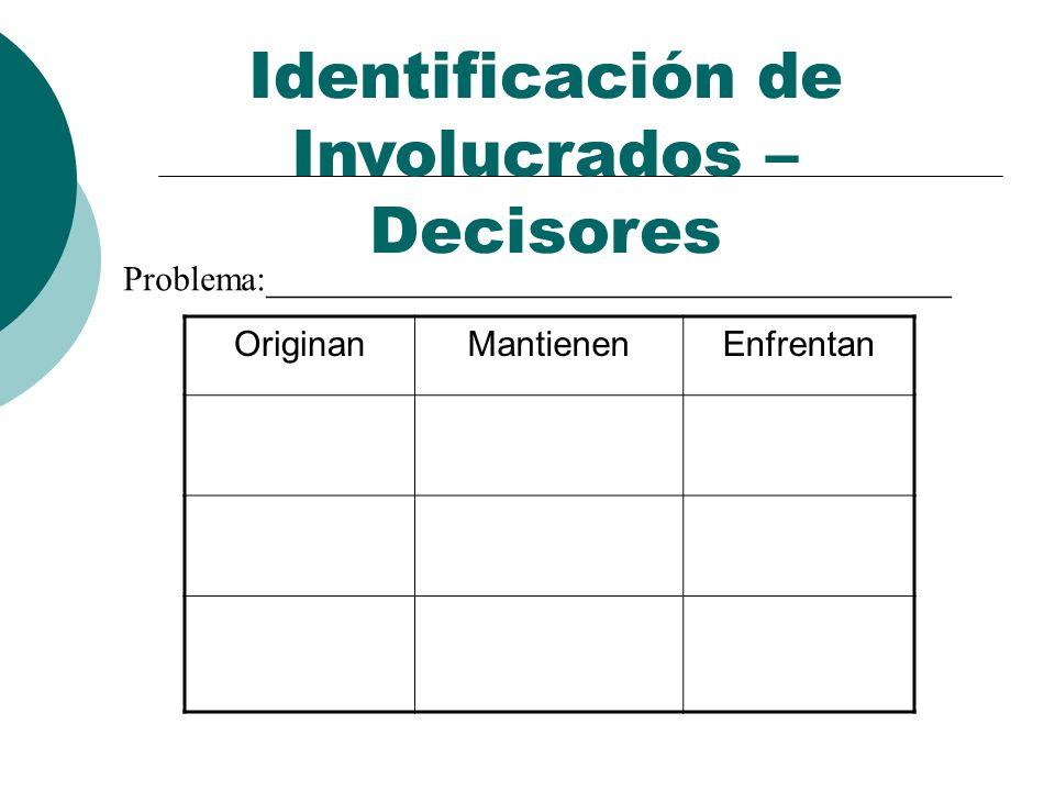 Identificación de Involucrados – Decisores OriginanMantienenEnfrentan Problema:_______________________________________