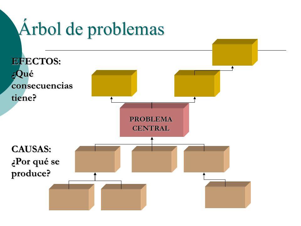 Árbol de problemas PROBLEMA CENTRAL CAUSAS: ¿Por qué se produce? EFECTOS: ¿Qué consecuencias tiene?