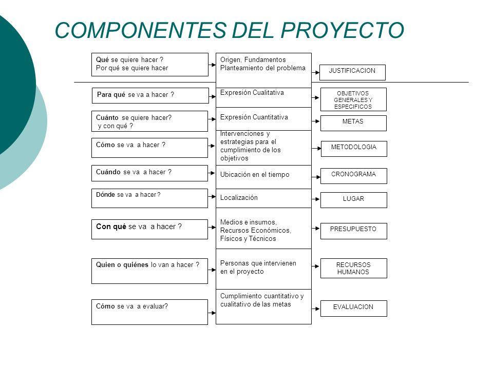 COMPONENTES DEL PROYECTO Origen, Fundamentos Planteamiento del problema Expresión Cualitativa Expresión Cuantitativa Intervenciones y estrategias para