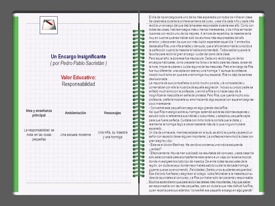 Valor Educativo: Positivismo, optimismo La Increíble Lluvia Negra ( por Pedro Pablo Sacristán ) Idea y enseñanza principal AmbientaciónPersonajes Toda