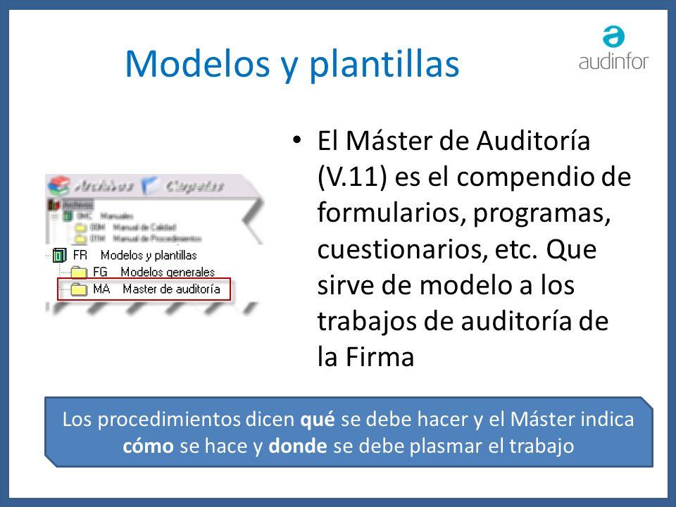 Modelos y plantillas El Máster de Auditoría (V.11) es el compendio de formularios, programas, cuestionarios, etc. Que sirve de modelo a los trabajos d