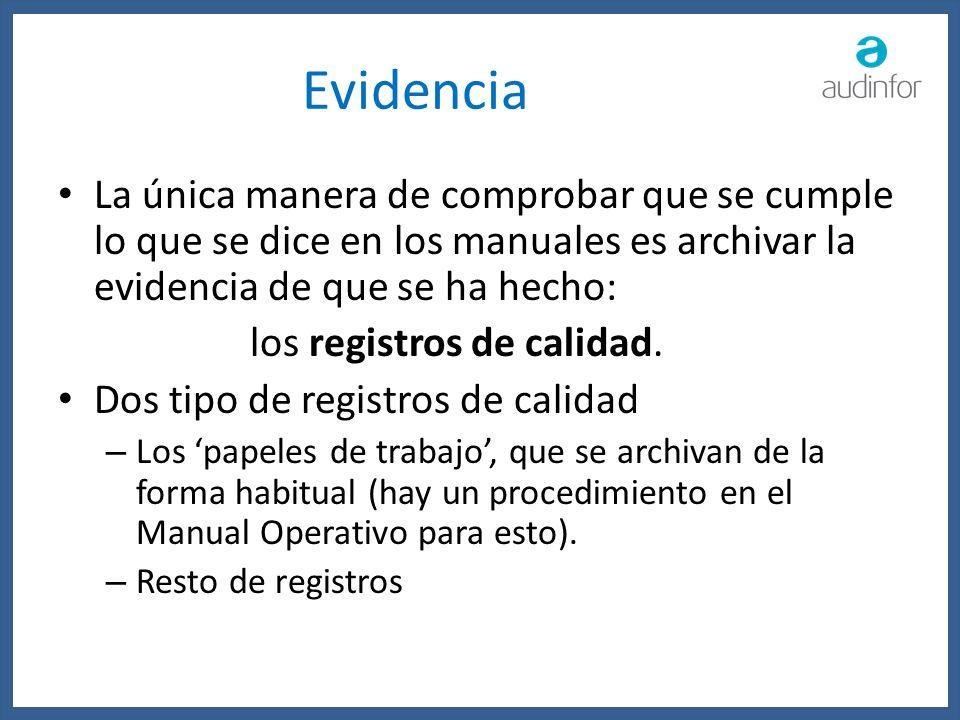 Evidencia La única manera de comprobar que se cumple lo que se dice en los manuales es archivar la evidencia de que se ha hecho: los registros de cali
