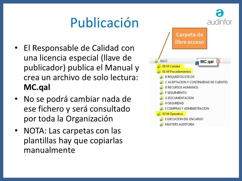 Publicación El Responsable de Calidad con una licencia especial (llave de publicador) publica el Manual y crea un archivo de solo lectura: MC.qal No s