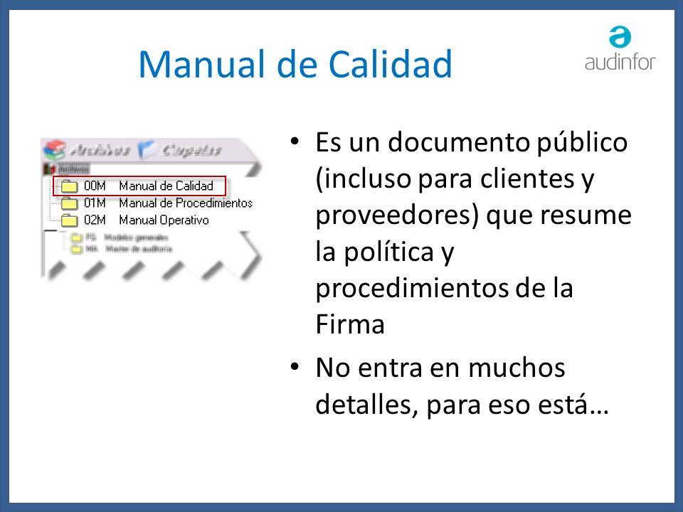 Manual de Calidad Es un documento público (incluso para clientes y proveedores) que resume la política y procedimientos de la Firma No entra en muchos