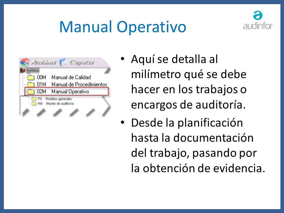 Manual Operativo Aquí se detalla al milímetro qué se debe hacer en los trabajos o encargos de auditoría. Desde la planificación hasta la documentación