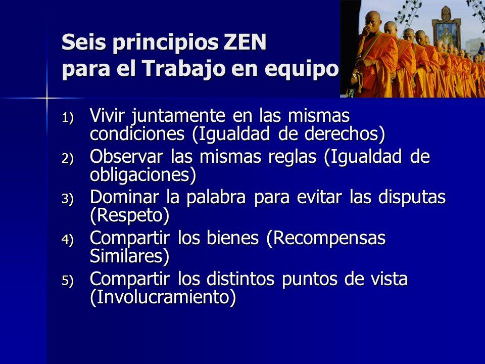 Seis principios ZEN para el Trabajo en equipo 1) Vivir juntamente en las mismas condiciones (Igualdad de derechos) 2) Observar las mismas reglas (Igua