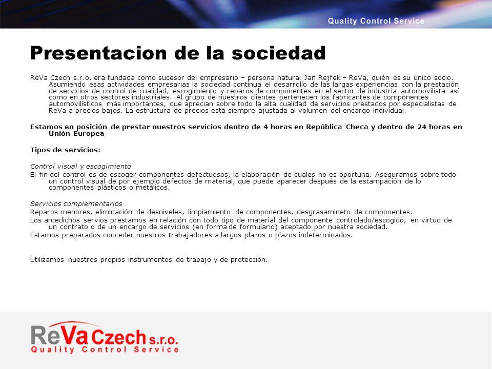 Presentacion de la sociedad ReVa Czech s.r.o.