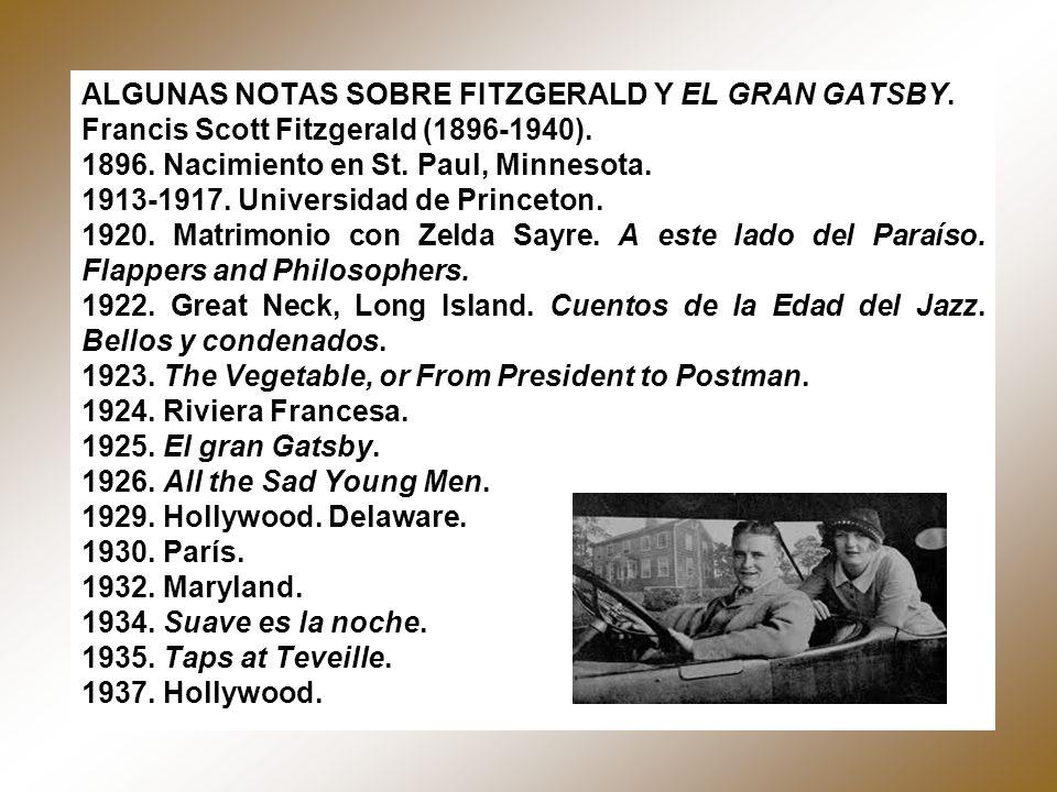 ALGUNAS NOTAS SOBRE FITZGERALD Y EL GRAN GATSBY. Francis Scott Fitzgerald (1896-1940). 1896. Nacimiento en St. Paul, Minnesota. 1913-1917. Universidad