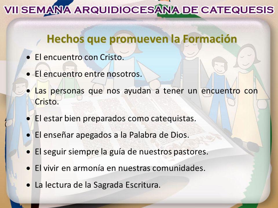 Hechos que promueven la Formación El encuentro con Cristo. El encuentro entre nosotros. Las personas que nos ayudan a tener un encuentro con Cristo. E