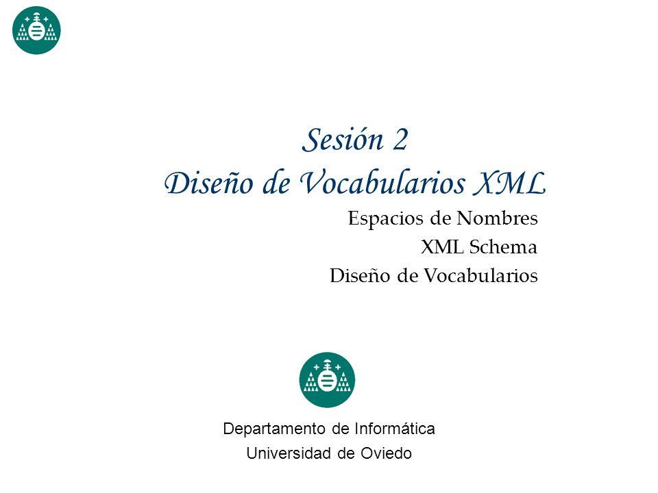Sesión 2 Diseño de Vocabularios XML Departamento de Informática Universidad de Oviedo Espacios de Nombres XML Schema Diseño de Vocabularios