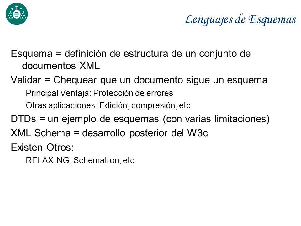 Lenguajes de Esquemas Esquema = definición de estructura de un conjunto de documentos XML Validar = Chequear que un documento sigue un esquema Princip