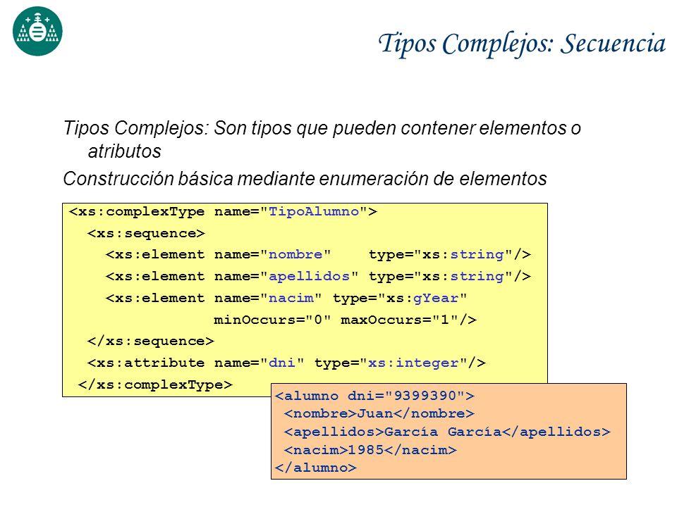 Tipos Complejos: Secuencia Tipos Complejos: Son tipos que pueden contener elementos o atributos Construcción básica mediante enumeración de elementos