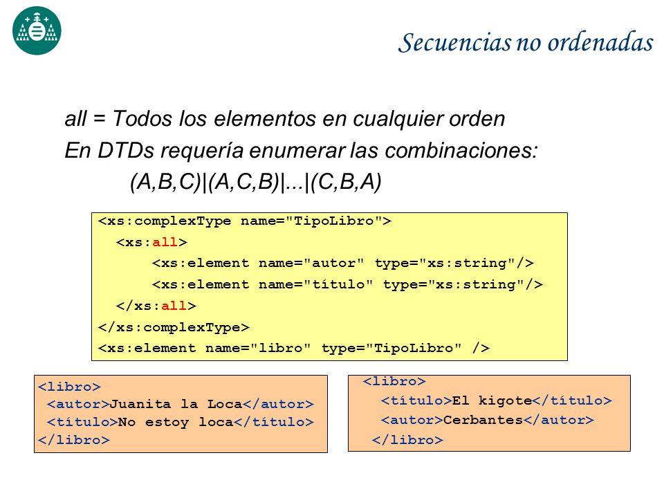 Secuencias no ordenadas all = Todos los elementos en cualquier orden En DTDs requería enumerar las combinaciones: (A,B,C)|(A,C,B)|...|(C,B,A) Juanita