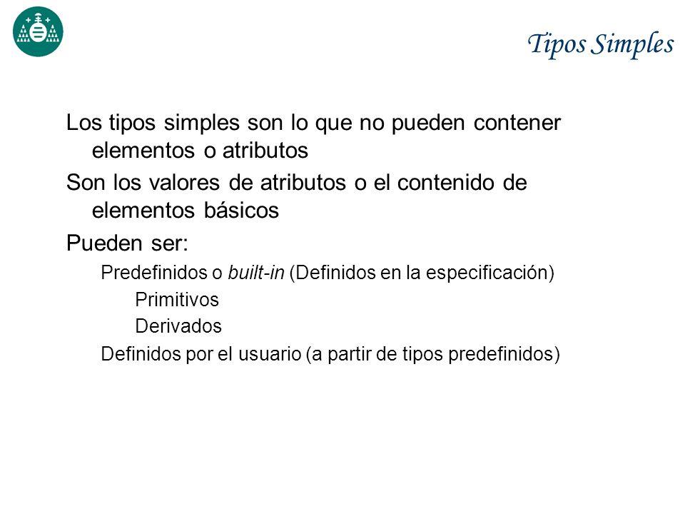 Tipos Simples Los tipos simples son lo que no pueden contener elementos o atributos Son los valores de atributos o el contenido de elementos básicos P