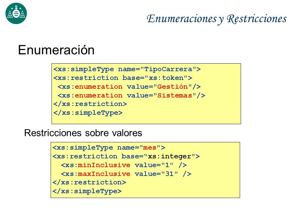 Enumeraciones y Restricciones Enumeración Restricciones sobre valores