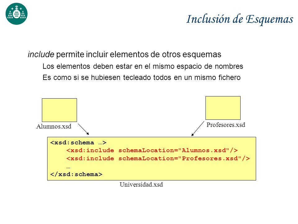 Inclusión de Esquemas include permite incluir elementos de otros esquemas Los elementos deben estar en el mismo espacio de nombres Es como si se hubie
