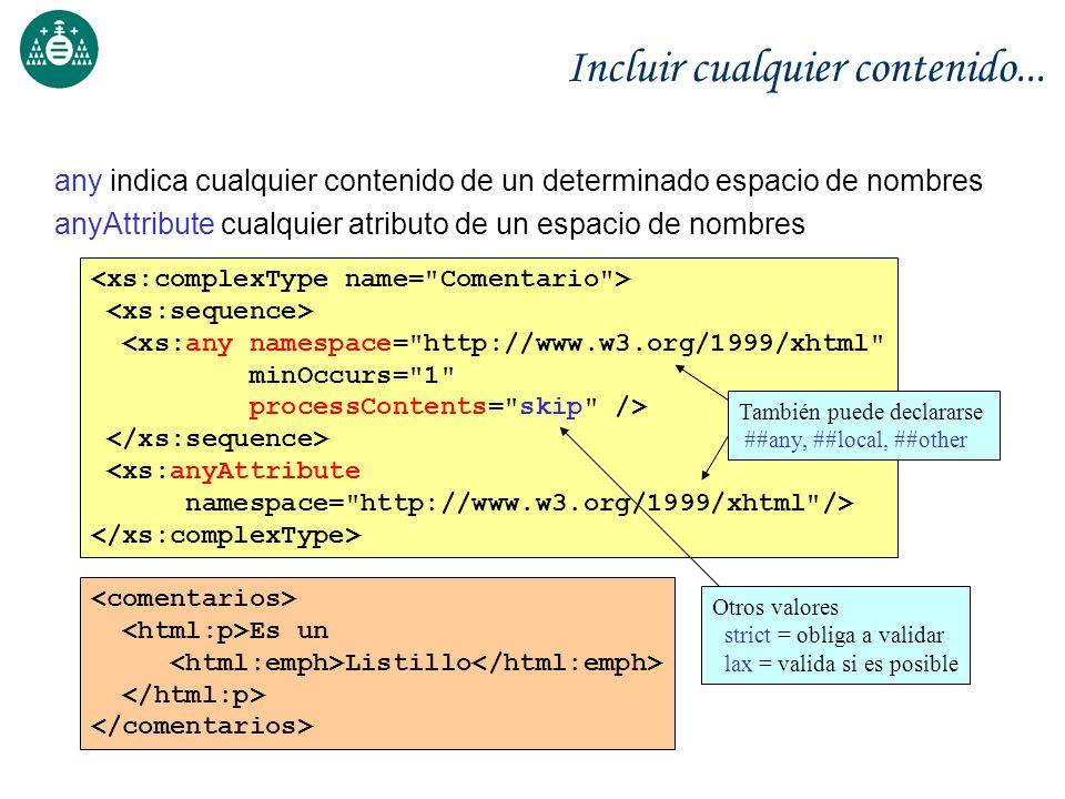 Incluir cualquier contenido... any indica cualquier contenido de un determinado espacio de nombres anyAttribute cualquier atributo de un espacio de no