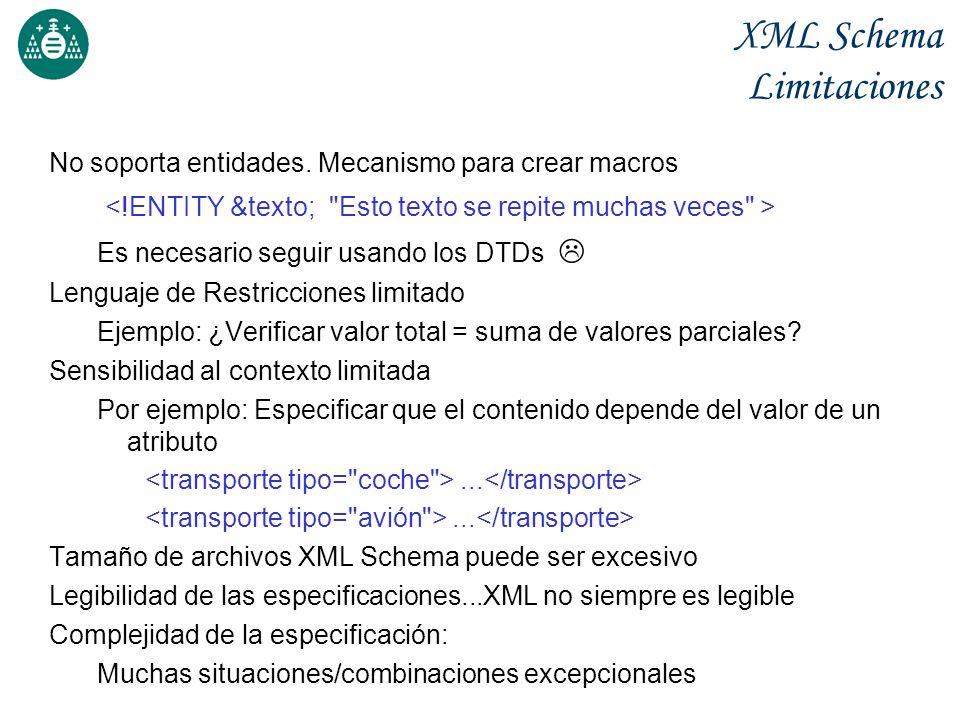 XML Schema Limitaciones No soporta entidades. Mecanismo para crear macros Es necesario seguir usando los DTDs Lenguaje de Restricciones limitado Ejemp