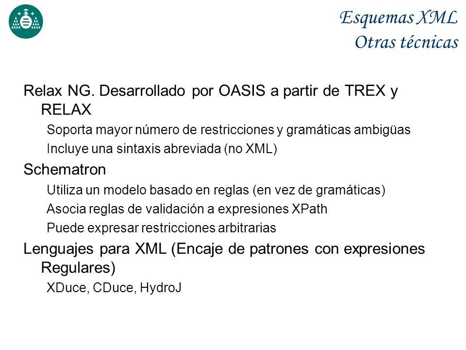 Esquemas XML Otras técnicas Relax NG. Desarrollado por OASIS a partir de TREX y RELAX Soporta mayor número de restricciones y gramáticas ambigüas Incl