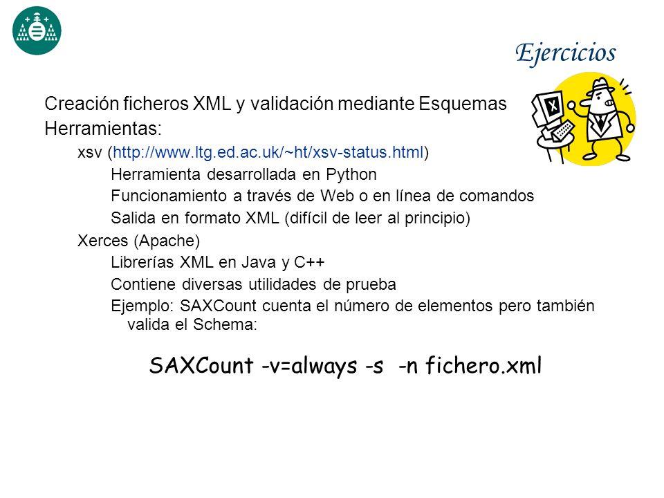 Ejercicios Creación ficheros XML y validación mediante Esquemas Herramientas: xsv (http://www.ltg.ed.ac.uk/~ht/xsv-status.html) Herramienta desarrolla
