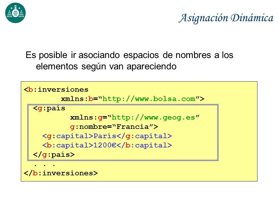 Espacio de nombres por defecto Mediante xmlns=...