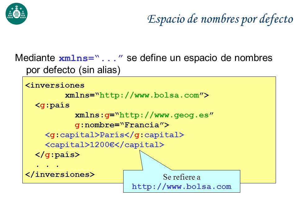 Ejercicios Creación ficheros XML y validación mediante Esquemas Herramientas: xsv (http://www.ltg.ed.ac.uk/~ht/xsv-status.html) Herramienta desarrollada en Python Funcionamiento a través de Web o en línea de comandos Salida en formato XML (difícil de leer al principio) Xerces (Apache) Librerías XML en Java y C++ Contiene diversas utilidades de prueba Ejemplo: SAXCount cuenta el número de elementos pero también valida el Schema: SAXCount -v=always -s -n fichero.xml
