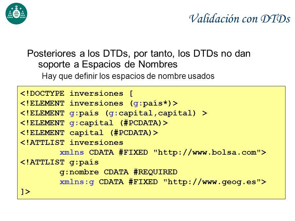 Validación con DTDs Posteriores a los DTDs, por tanto, los DTDs no dan soporte a Espacios de Nombres Hay que definir los espacios de nombre usados <!D