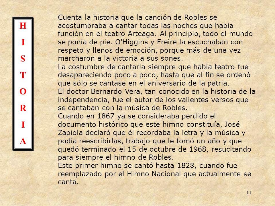 11 Cuenta la historia que la canción de Robles se acostumbraba a cantar todas las noches que había función en el teatro Arteaga. Al principio, todo el