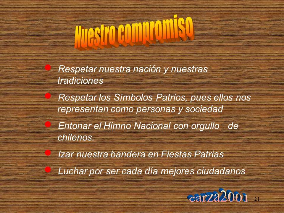 21 Respetar nuestra nación y nuestras tradiciones Respetar los Símbolos Patrios, pues ellos nos representan como personas y sociedad Entonar el Himno Nacional con orgullo de chilenos.