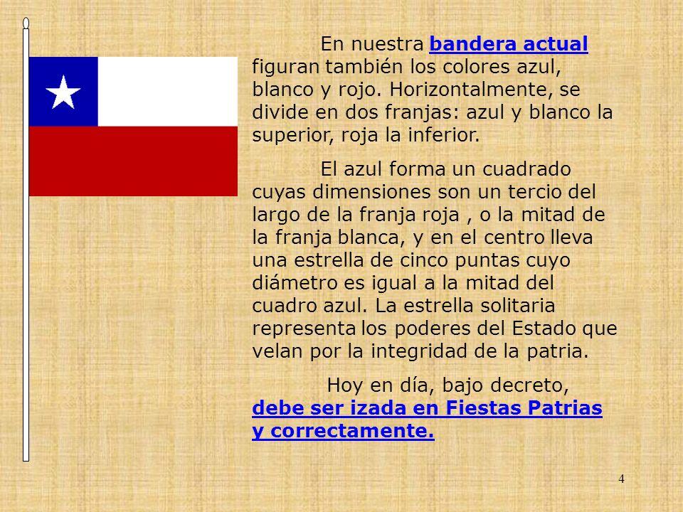 4 En nuestra bandera actual figuran también los colores azul, blanco y rojo. Horizontalmente, se divide en dos franjas: azul y blanco la superior, roj