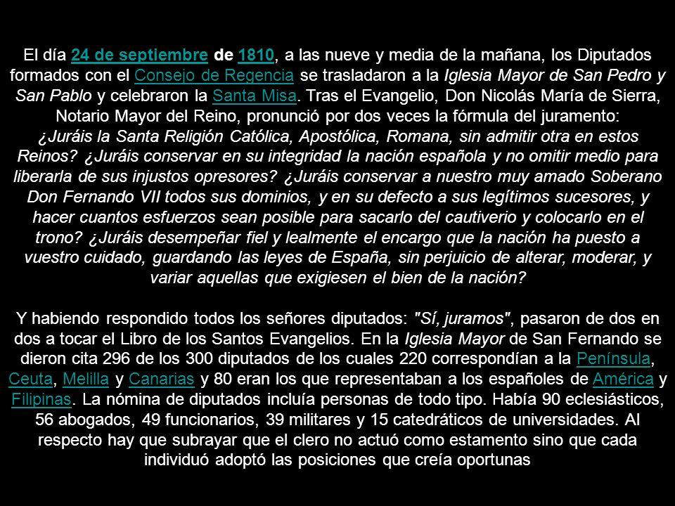 Juramento en la Iglesia Mayor parroquial de San Pedro y San Pablo de la ciudad. Expuesto como tal en el Congreso de los Diputados de Madrid.