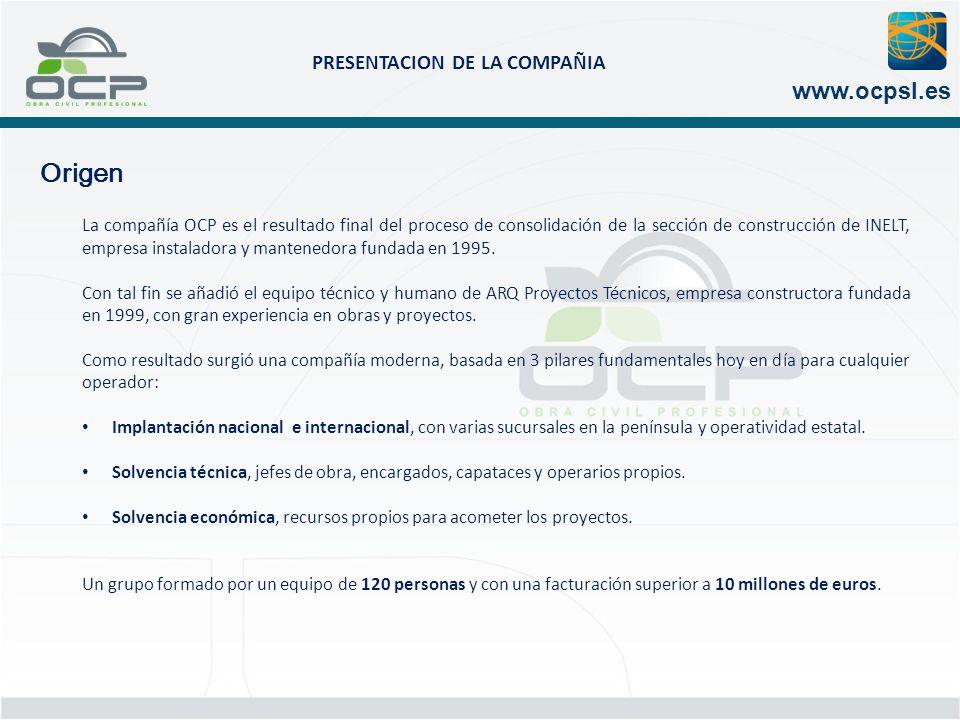 PRESENTACION DE LA COMPAÑIA www.ocpsl.es Implantación nacional e internacional DELEGACIONES BARCELONA (CENTRAL) MADRID GIRONA BURGOS CADIZ S.VICENÇ CASTELLET DOHA ARGEL DELEGACIONES BARCELONA (CENTRAL) MADRID GIRONA BURGOS CADIZ S.VICENÇ CASTELLET DOHA ARGEL
