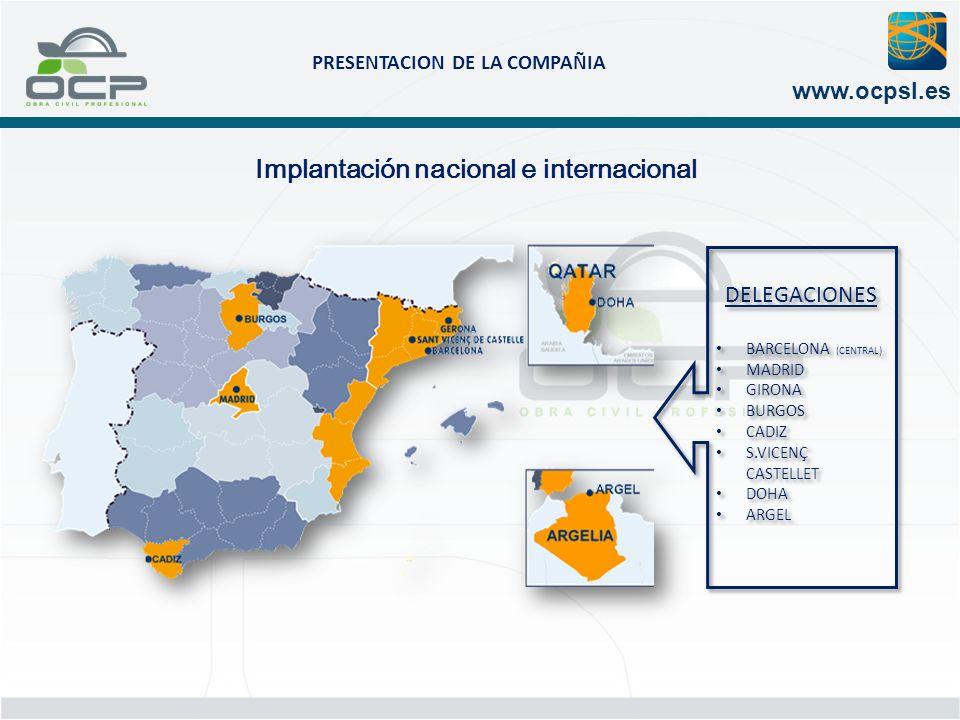PRESENTACION DE LA COMPAÑIA www.ocpsl.es Implantación nacional e internacional DELEGACIONES BARCELONA (CENTRAL) MADRID GIRONA BURGOS CADIZ S.VICENÇ CA
