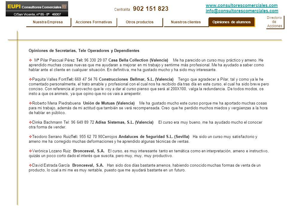 www.consultorescomerciales.com info@consultorescomerciales.com Centralita 902 151 823 Consultores Comerciales C/San Vicente, nº 85 - 8ª 46007 VALENCIA Opiniones de Secretarias, Tele Operadores y Dependientes Mª Pilar Pascual Pérez Tel: 96 330 29 07 Casa Bella Collection (Valencia) Me ha parecido un curso muy práctico y ameno.