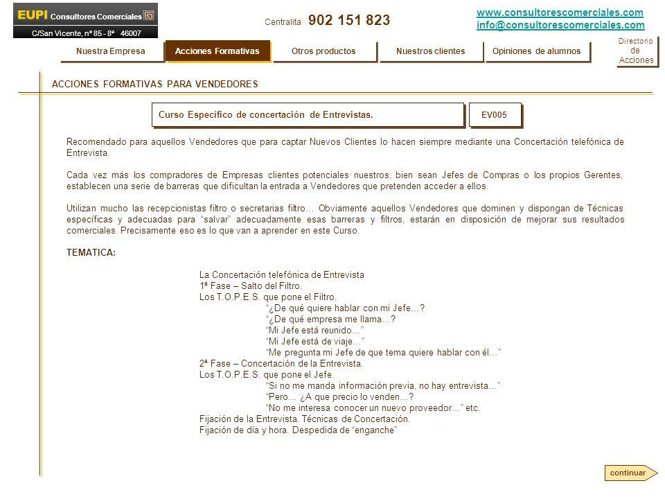 www.consultorescomerciales.com info@consultorescomerciales.com Centralita 902 151 823 Consultores Comerciales C/San Vicente, nº 85 - 8ª 46007 VALENCIA ACCIONES FORMATIVAS PARA VENDEDORES Curso Específico de concertación de Entrevistas.