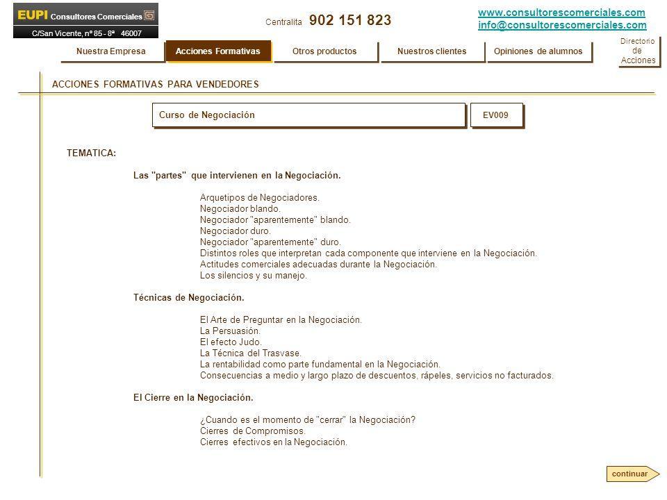 www.consultorescomerciales.com info@consultorescomerciales.com Centralita 902 151 823 Consultores Comerciales C/San Vicente, nº 85 - 8ª 46007 VALENCIA ACCIONES FORMATIVAS PARA VENDEDORES Curso de Negociación EV009 TEMATICA: Las partes que intervienen en la Negociación.