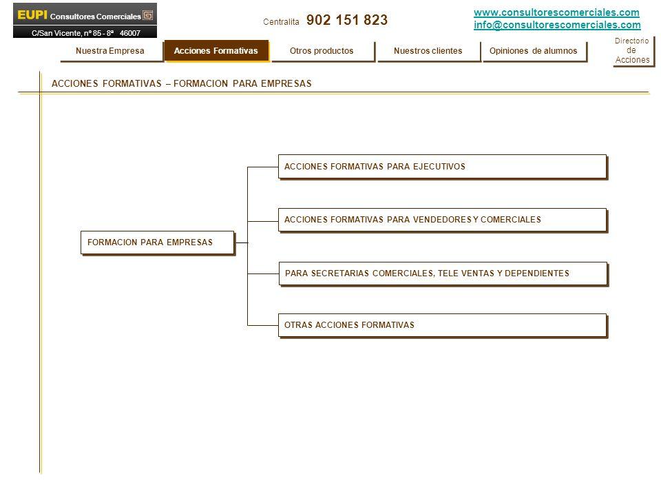www.consultorescomerciales.com info@consultorescomerciales.com Centralita 902 151 823 Consultores Comerciales C/San Vicente, nº 85 - 8ª 46007 VALENCIA MYSTERY SHOPPING MYSTERY SHOPPING ( El Vigía de su Negocio ) EUPI Consultores Comerciales realiza el servicio de Mystery Shopping cumplimentando las siguientes fases: FASE A.- Determinación conjunta con la Empresa de los puntos que quiere evaluar, y nivel de esa evaluación.