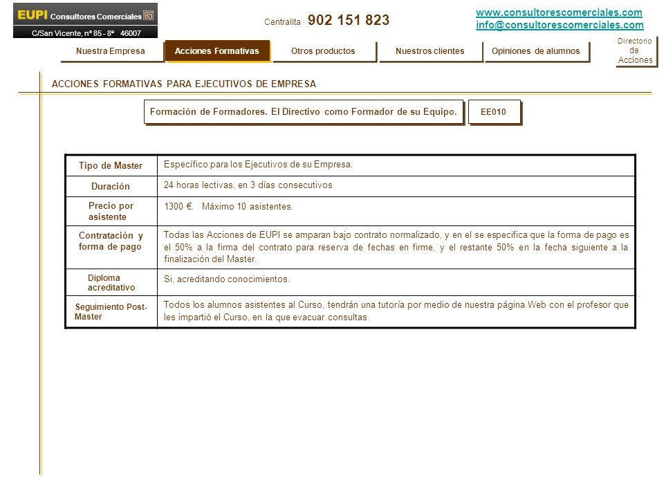 www.consultorescomerciales.com info@consultorescomerciales.com Centralita 902 151 823 Consultores Comerciales C/San Vicente, nº 85 - 8ª 46007 VALENCIA ACCIONES FORMATIVAS PARA EJECUTIVOS DE EMPRESA EE010 Formación de Formadores.