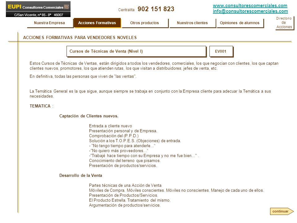 www.consultorescomerciales.com info@consultorescomerciales.com Centralita 902 151 823 Consultores Comerciales C/San Vicente, nº 85 - 8ª 46007 VALENCIA ACCIONES FORMATIVAS PARA VENDEDORES NOVELES Cursos de Técnicas de Venta (Nivel I) EV001 TEMATICA: Los T.O.P.E.S.
