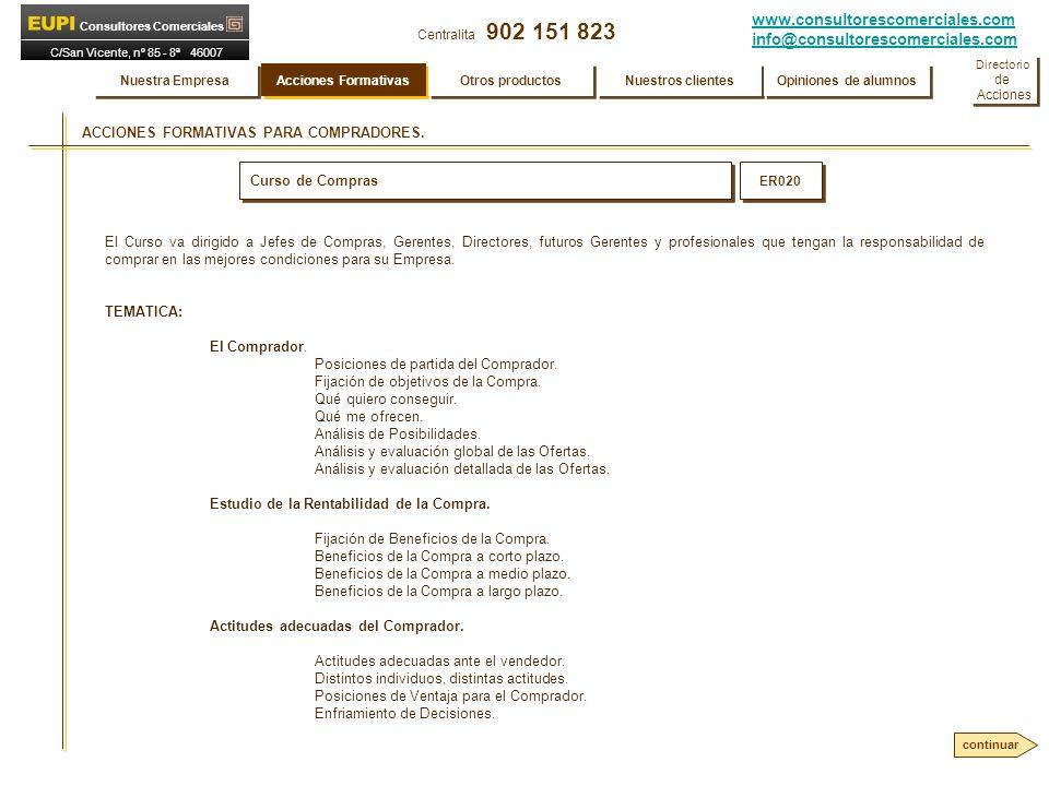 www.consultorescomerciales.com info@consultorescomerciales.com Centralita 902 151 823 Consultores Comerciales C/San Vicente, nº 85 - 8ª 46007 VALENCIA ACCIONES FORMATIVAS PARA COMPRADORES.