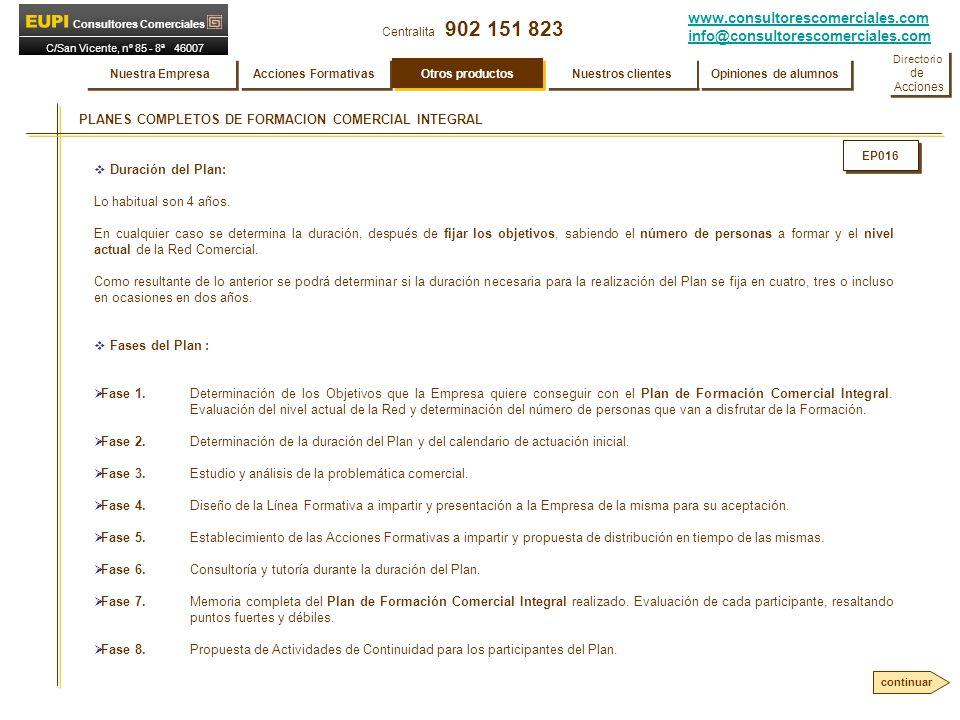 www.consultorescomerciales.com info@consultorescomerciales.com Centralita 902 151 823 Consultores Comerciales C/San Vicente, nº 85 - 8ª 46007 VALENCIA PLANES COMPLETOS DE FORMACION COMERCIAL INTEGRAL Duración del Plan: Lo habitual son 4 años.