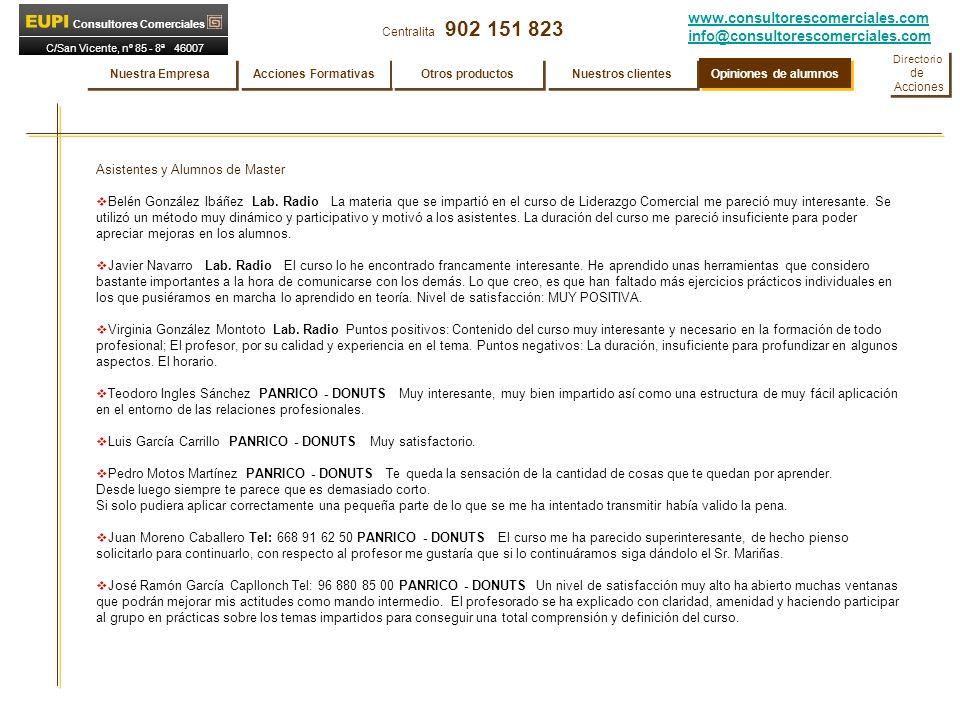 www.consultorescomerciales.com info@consultorescomerciales.com Centralita 902 151 823 Consultores Comerciales C/San Vicente, nº 85 - 8ª 46007 VALENCIA Asistentes y Alumnos de Master Belén González Ibáñez Lab.