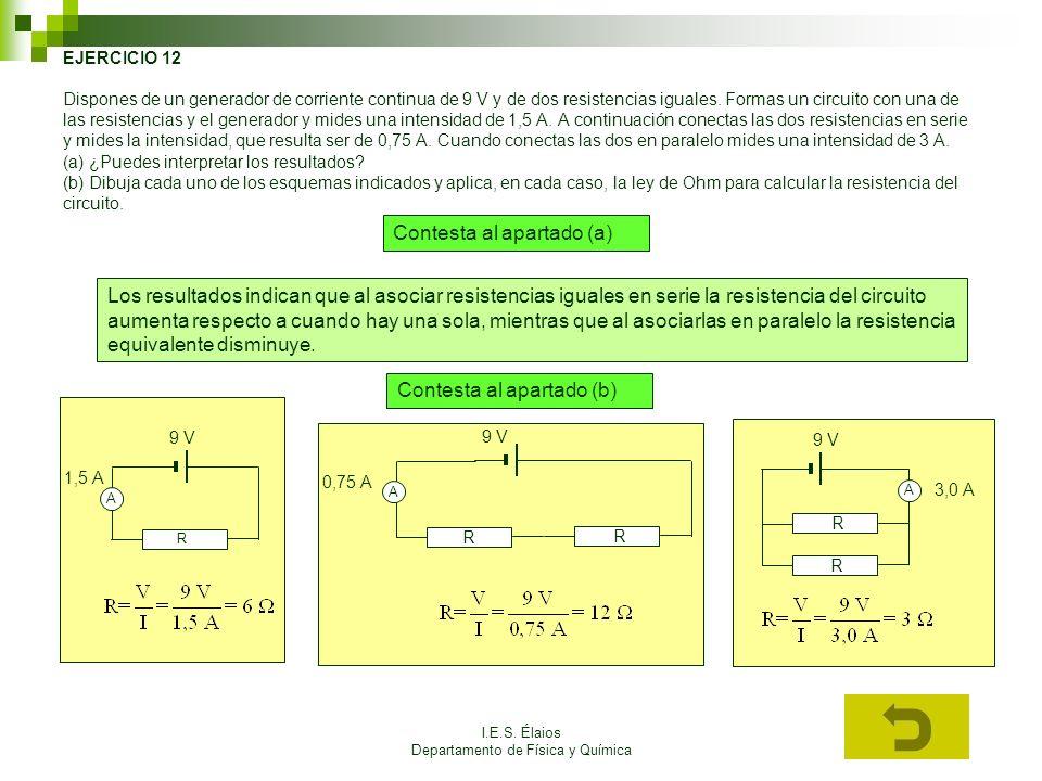 I.E.S. Élaios Departamento de Física y Química EJERCICIO 12 Dispones de un generador de corriente continua de 9 V y de dos resistencias iguales. Forma
