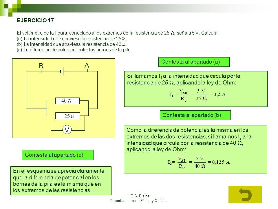 I.E.S. Élaios Departamento de Física y Química EJERCICIO 17 El voltímetro de la figura, conectado a los extremos de la resistencia de 25, señala 5 V.