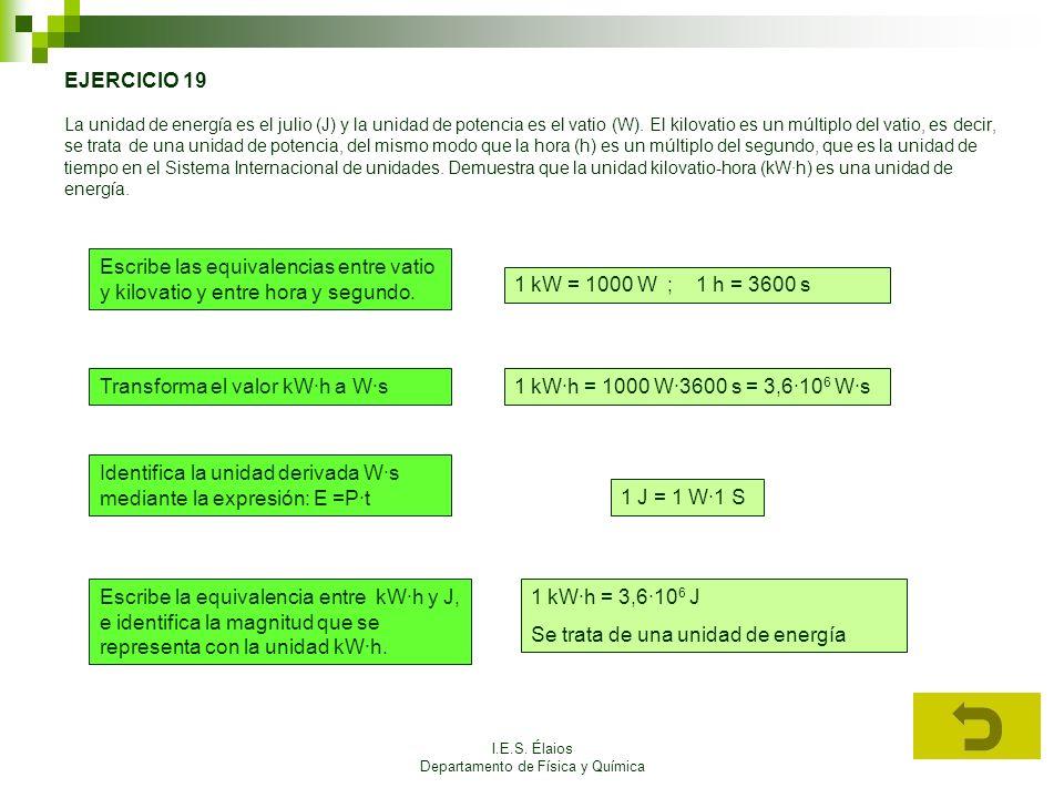 I.E.S. Élaios Departamento de Física y Química EJERCICIO 19 La unidad de energía es el julio (J) y la unidad de potencia es el vatio (W). El kilovatio
