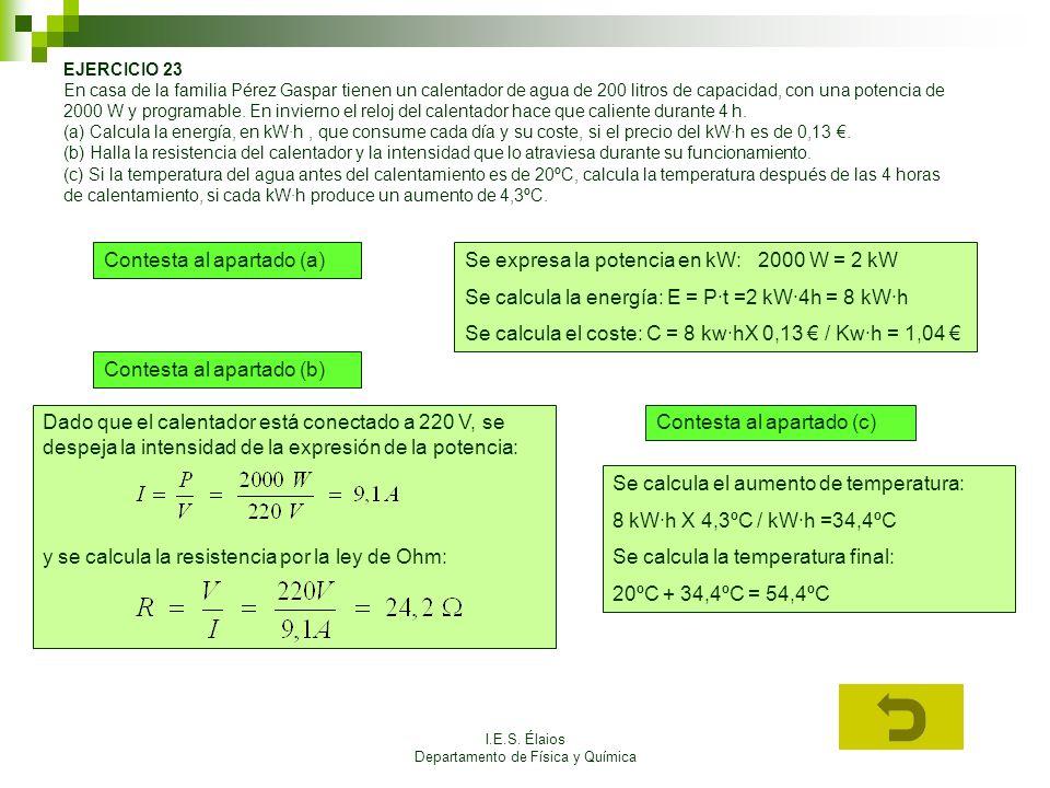 I.E.S. Élaios Departamento de Física y Química EJERCICIO 23 En casa de la familia Pérez Gaspar tienen un calentador de agua de 200 litros de capacidad