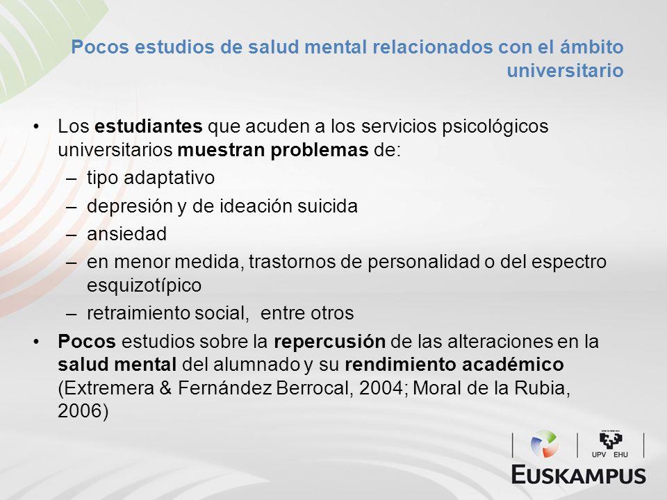 Pocos estudios de salud mental relacionados con el ámbito universitario Los estudiantes que acuden a los servicios psicológicos universitarios muestra