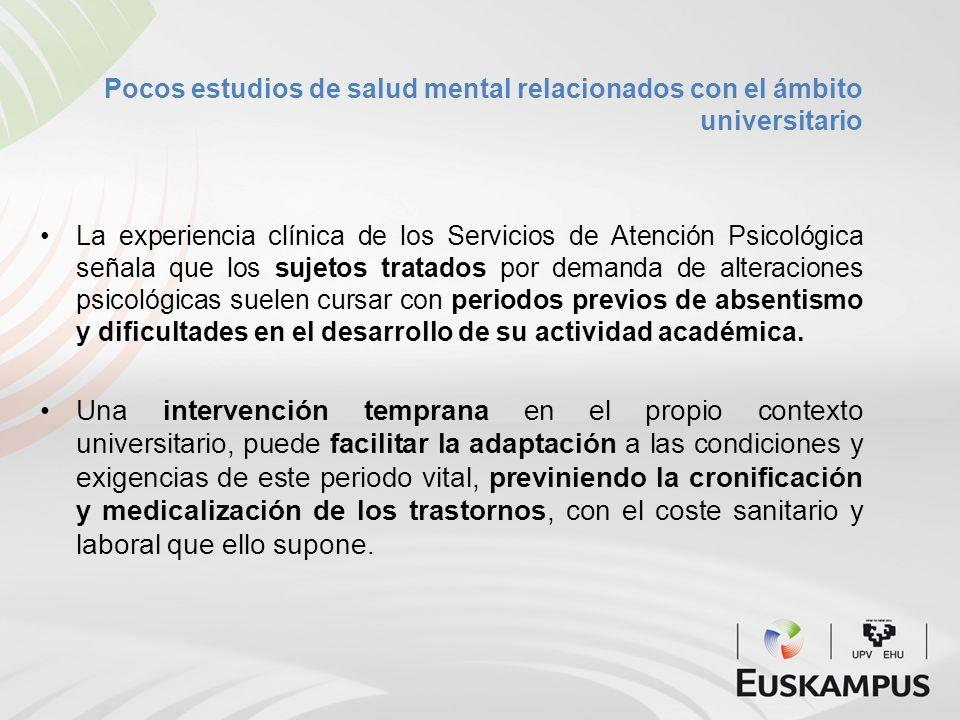 Pocos estudios de salud mental relacionados con el ámbito universitario La experiencia clínica de los Servicios de Atención Psicológica señala que los
